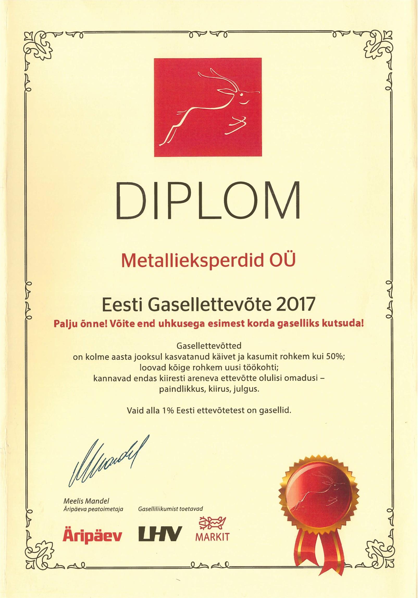 Metallieksperdid OÜ on Gasell 2017