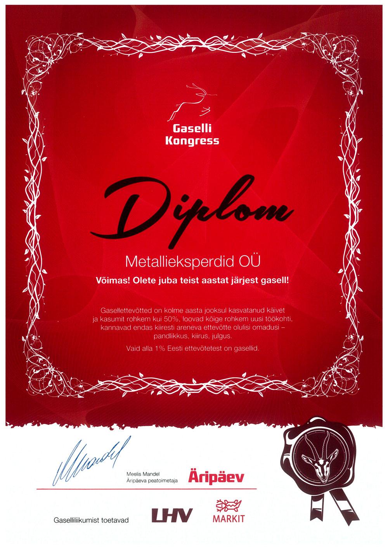 Metallieksperdid OÜ on Gasell 2018